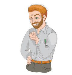 Man with squinty eye pointing finger and smiling vector