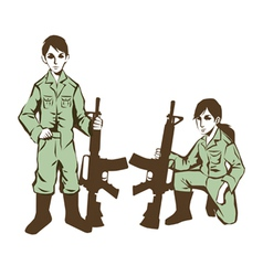 Soldier kids in uniform at war vector