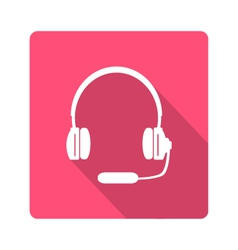 Headphones with microphone icon vector