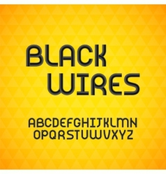 Wired wavy cable black contour alphabet vector