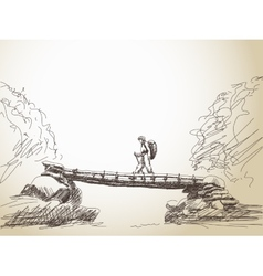Bridge crossing river with trekking woman vector