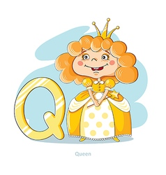Cartoons alphabet - letter q with funny queen vector