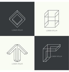 Set of hipster logo vector