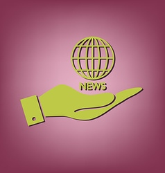 Hand holding a globe symbol news symbol news icon vector