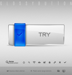 Blue and gray button vector