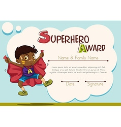 Certificate with boy being superhero background vector