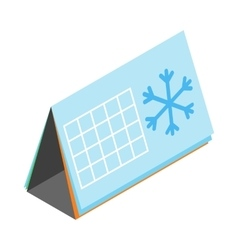 Calendar with snowflake icon isometric 3d style vector