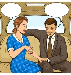 Couple talking in taxi pop art style vector
