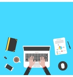 hands and office objects on blue desk top vector image