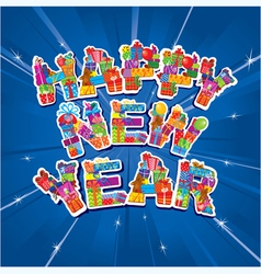 Abstract Happy New Year blue background vector image
