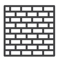 Brick wall line icon security and build vector