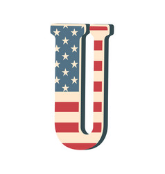capital 3d letter u with american flag texture vector image vector image