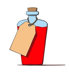 Cartoon bottle with a tag vector image vector image