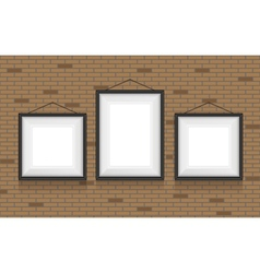 Collage of picture frames on the brick wall set vector image