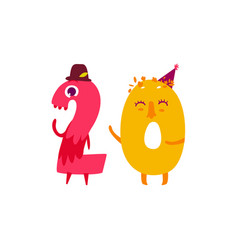 Cute animallike character number twenty 20 vector