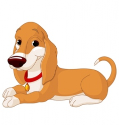 Cute lying dog vector