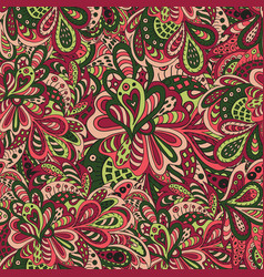 Doodle floral seamless pattern cherry and green vector