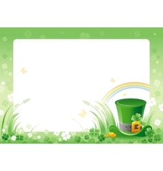 Happy saint patrick day leprechaun hat border vector