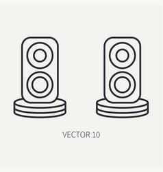 Line flat computer part icon audio speakers vector
