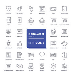 line icons set e-commerce vector image vector image