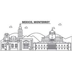 Mexico monterrey architecture line skyline vector
