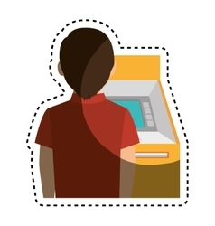 person in atm icon vector image