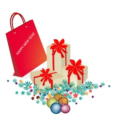 Red Paper Shopping Bag with Gift Boxes vector image