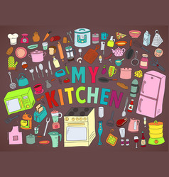 set hand drawn icons kitchen vector image