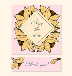 Set of cards with daffodil floral motifs vector