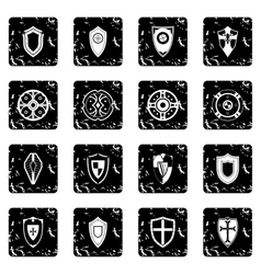 Shields set set icons grunge style vector image vector image
