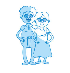 Silhouette old couple with hairstyle and glasses vector