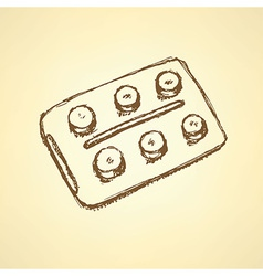 Sketch tablets pachege in vintage style vector image vector image