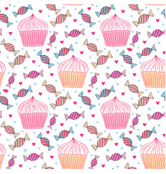 Sweets seamless pattern with cupcakes and candy vector