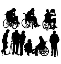 the silhouette of the disabled vector image