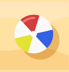top view of beach ball on sand for summer icon vector image vector image