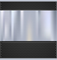 Metal plate over grate texture stainless steel vector