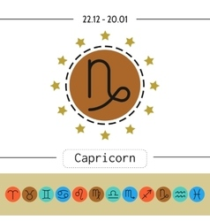 Capricorn signs of zodiac flat linear icons for vector