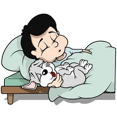 Boy and Dog Sleeping vector image