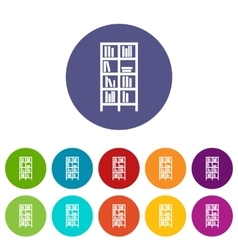 Bookcase set icons vector