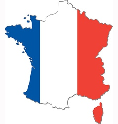 Map of france with national flag vector