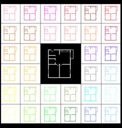 Apartment house floor plans felt-pen 33 vector