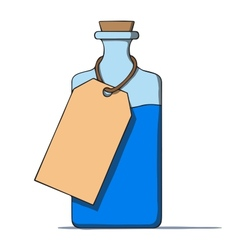 Cartoon bottle with a tag vector image