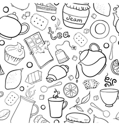 Tea and sweets black and white seamless pattern vector