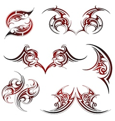 Tribal fire flame tattoo set vector