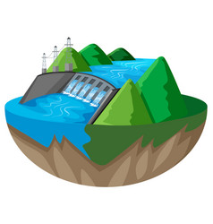 3d design for dam in the mountain vector