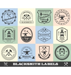 Blacksmith label set vector