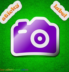 Photo camera icon sign symbol chic colored sticky vector