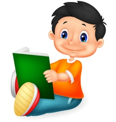 Little boy reading book vector
