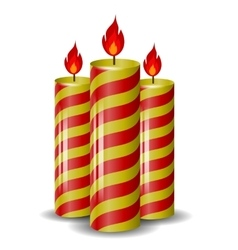 Red yellow wax candles set vector