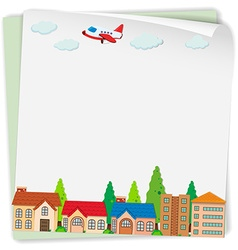Paper design with airplane and houses vector